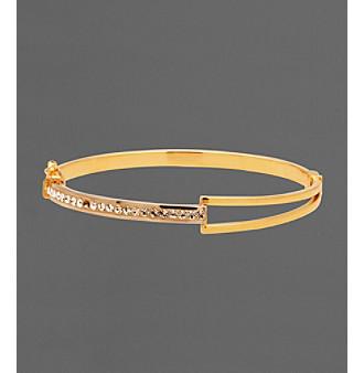 14K Gold-Over-Sterling Silver Crystal Split Bangle Bracelet