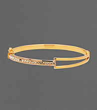 14K Gold-Over-Sterling Silver Crystal Split Bangle Bracelet