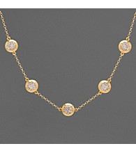 14K Gold and Sterling Silver Crystal Necklace