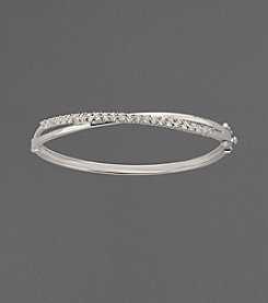 .25 ct. t.w. Diamond and Sterling Silver Crossover Bangle Bracelet