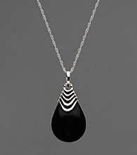 Sterling Silver Black Agate Pendant Necklace