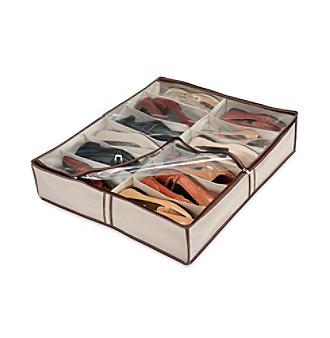 LivingQuarters Natural Tweed Underbed Shoe Storage