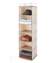 LivingQuarters 6-Bin Natural Tweed Hanging Accessory Organizer