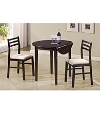 Monarch Casual Cappucinno 3-pc. Round Dining Set with Drop Leaf
