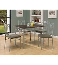 Monarch Sleek Cappuccino and Silver Metal 5-pc. Dining Set