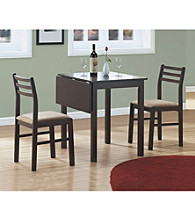 Monarch Casual Cappuccino 3-pc. Square Dining Set with Solid-Top Drop Leaf