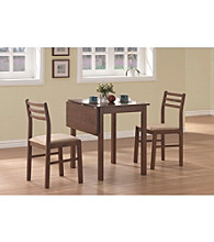 Monarch Casual Walnut 3-pc. Square Dining Set with Solid-Top Drop Leaf