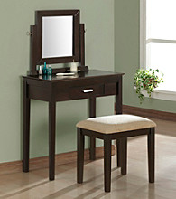 Monarch Contemporary Cappuccino Oak Veneer Vanity Set
