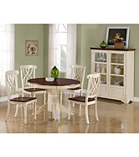 Monarch Antique White with Walnut Veneer Pedestal Table Dining Collection
