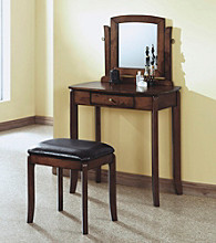 Monarch Stylish Contemporary Walnut Solid Top Vanity Set