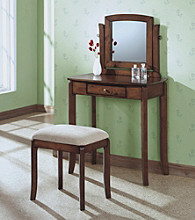 Monarch Traditional Walnut Vanity Set