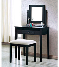 Monarch Contemporary Black Grain Veneer Vanity Set with Grey Fabric Stool