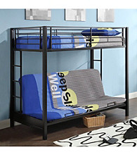 W. Designs Black Metal Twin & Futon Bunk Bed