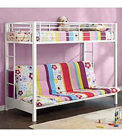 W. Designs White Metal Twin & Futon Bunk Bed