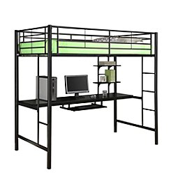 W. Designs Black Metal Twin Workstation Bunk Bed