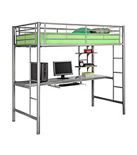 W. Designs Silver Metal Twin Workstation Bunk Bed