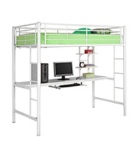 W. Designs White Metal Twin Workstation Bunk Bed