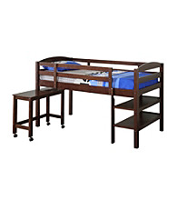 W. Designs Espresso Twin Wood Loft Bed with Desk