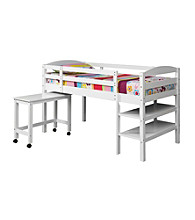 W. Designs White Twin Wood Loft Bed With Desk