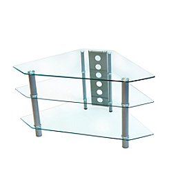 "W. Designs 44"" Bermuda Glass & Metal Corner TV Stand"