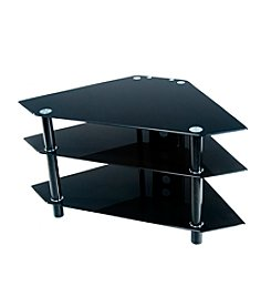 "W. Designs Black 44"" Bermuda Glass & Metal Corner TV Stand"