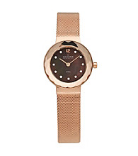 Skagen Denmark Women's Rose Goldtone Faceted Glass Bezel Watch