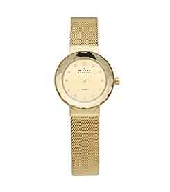 Skagen Denmark Women's Goldtone Faceted Glass Bezel Watch