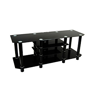 "W. Designs Black 60"" Dynasty Glass & Metal TV Stand"
