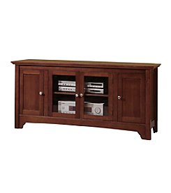 "W. Designs 52"" Walnut Brown Wood TV Console with Four Doors"