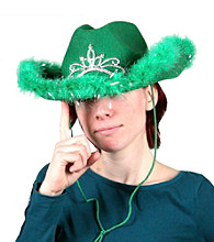 Green Light-Up Cowgirl Hat with Marabou Trim