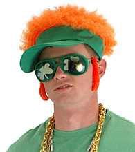 Shamrock Hat with Visor and Orange Afro