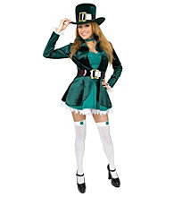 Adult Plus Size Sexy Leprechaun Costume with Hat
