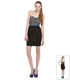 A. Byer Juniors' Black and White Dot Dress with Belt