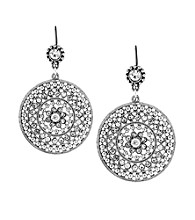 Jessica Simpson Silvertone Double Drop Disk Earrings