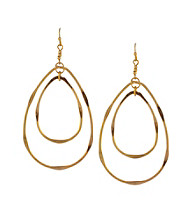 Jessica Simpson Goldtone Double Twisted Hoop Earrings