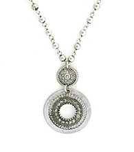 Jessica Simpson Silvertone Double Drop Pendant Necklace
