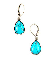 Nine West Vintage America Collection® Oxidized Silvertone Turquoise-Color Teardrop Earrings