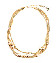 Anne Klein® Goldtone Mesh and Faux Pearl Three-Row Necklace