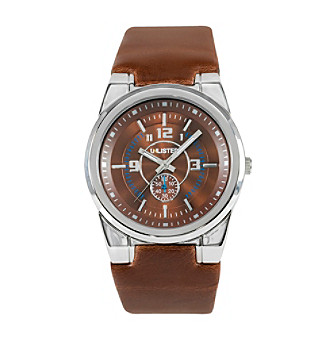 Unlisted by Kenneth Cole® Men's Silvertone Round Dial and Brown Leather Watch