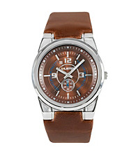 Unlisted by Kenneth Cole® Men's Round Dial and Brown Leather Watch