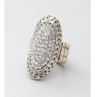 Erica Lyons® Silvertone Oval Top Stretch Ring