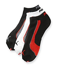 PUMA® Men's White/Black/Red 3 Pack Active Socks