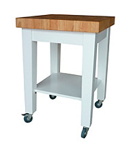 International Concepts White & Natural Ready Small Kitchen Island
