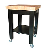 International Concepts Black & Natural Small Kitchen Island