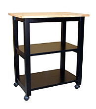International Concepts Black & Natural Microwave Cart