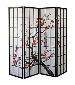 Ore International™ 4-Panel Plum Blossom Room Divider