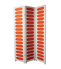 Ore International™ 3-Panel White and Orange Wooden Screen Room Divider