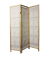 Ore International™ 3-Panel Natural Wooden Room Divider w/ Pocket Holders
