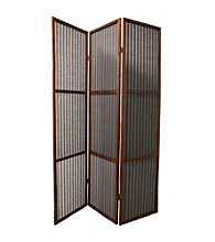 Ore International™ 3-Panel Walnut Finish Rattan Room Divider