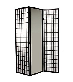 Ore International™ 3-Panel Black Finish Mirror Room Divider